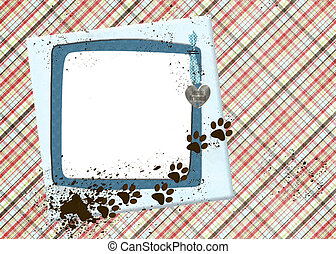 muddy dog prints on frame - Muddy dog paw prints on blue...