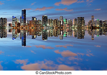 Miami Skyline at dusk - Miami Skyline seen from Key Biscayne...
