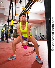 Crossfit fitness Kettlebells swing exercise workout at gym