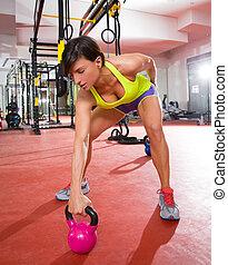 Crossfit, condicão física, Kettlebells, Balanço, exercício,...