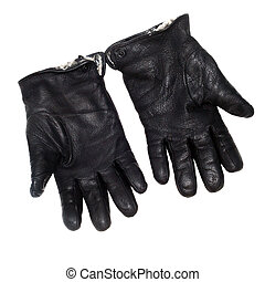 pair black leather gloves isolated on white (clipping path)
