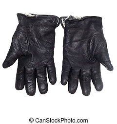 pair black of leather gloves isolated on white clipping path...