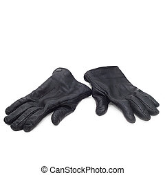 pair black of leather gloves isolated on white background