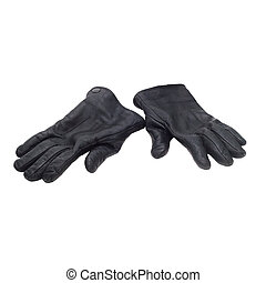 pair black of leather gloves isolated