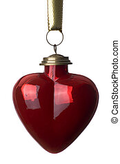 Heart shaped Christmas bauble on white