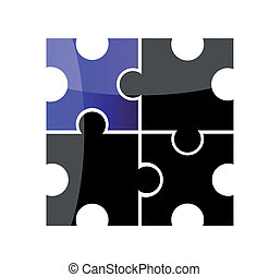 Vector puzzle. Creative illustration. Isolation over white...