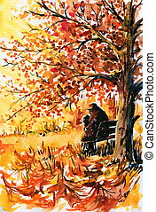 Autumn-lonely, old man sitting on a bench under a tree in...