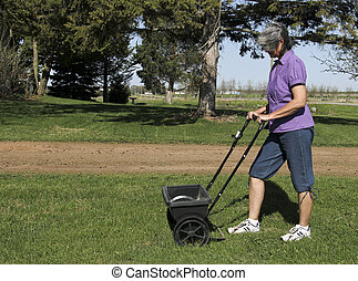 lawn fertilizer - woman fertilizing her lawn with a spreader