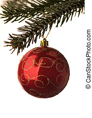 Red Christmas Bauble hanging from a twig, white background