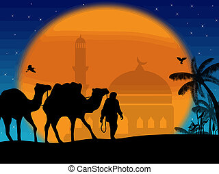 Camels in Sahara with bedouins and mosque on sunset