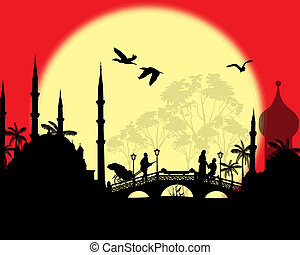 An Islamic sunset background