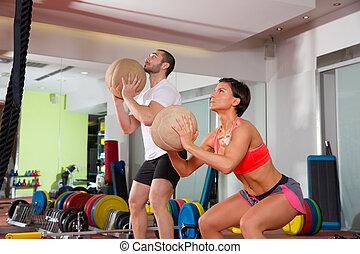 Crossfit, balle, Fitness, séance entraînement,...