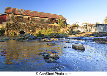 Old weathered water mill, Moscow, Vt, USA - Old weathered...