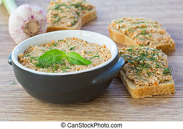 pate - fresh homemade meat pate with bread and herbs