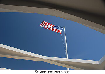 USS Arizona Flag - US Flag over USS Arizona Memorial