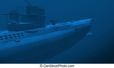 Submarine underwater - Render of floating german diesel...