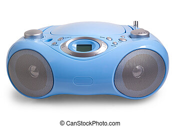 recorder blue stereo CD mp3 radio isolated on white