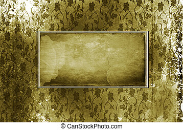 Old frame on the wall. Vintage background