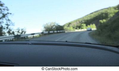 Driving a car. Inside shoot