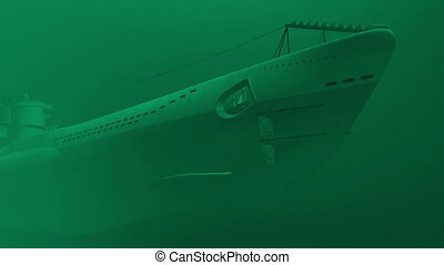 German submarine underwater - Render of floating german...