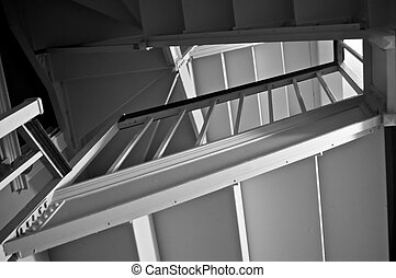 old stairwell - looking up through an old stairwell inside...