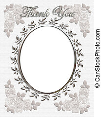 Thank you Card or Wedding Frame - 3d illustrated oval frame...