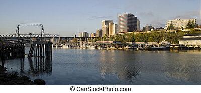 Sunrise appears as the light hits the Tacoma Washington...