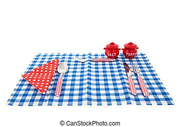 tabla, cubiertos