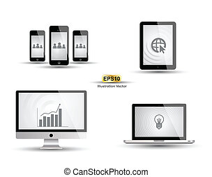 Computer smartphone tablet vector - for technology concept