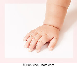 Baby hand isolated on white - Closeup of baby hand isolated...