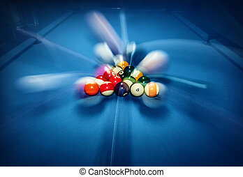 Billiard pool - Blue billiard table with colorful balls,...
