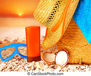 Beach items on sunset - Closeup beach items on sunset on the...