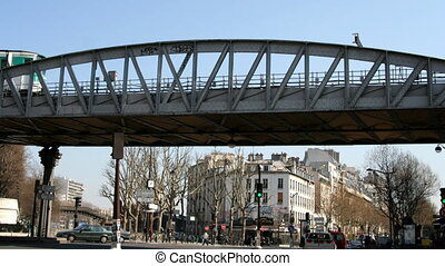 metro train passing overhead, paris, france