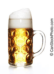 German beer - a Masskrug with waterdrops, isolated on white