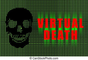 Virtual Death Suicide Ascii Art Abstract in Green