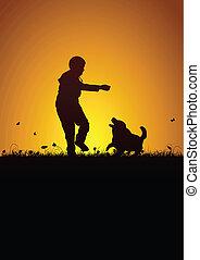 Playing kid and dog