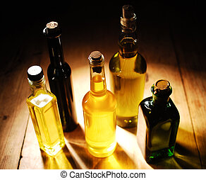 Variety of Cooking Oils standing on the table