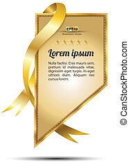 Tag gold ribbon - Vector for business concepts with icons /...