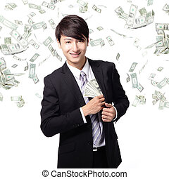 happy business man with us money - happy business man with...