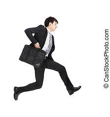 business man running on isolated white background, full...