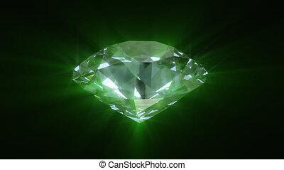 Spinning green shining diamond