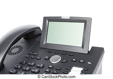 display of modern business phone isolated in white...