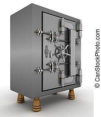 classic safe - 3D Render of a Safe