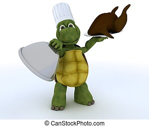 tortoise chef with a chicken - 3D render of a tortoise chef...