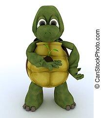 tortoise nurturing a seedling plant - 3D render of a...