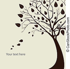 Autumn tree silhouette over white background vector...