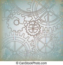 Gears over blue vintage background vector illustration