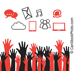 Internet icons hands - Internet icons and hands silhouette...