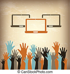 laptops and hands over vintage background vector...