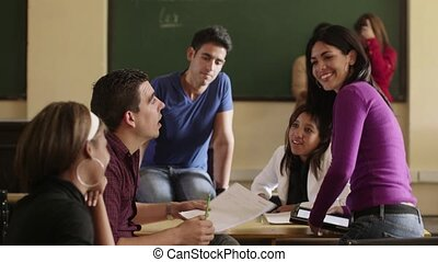 Friends at school, group in college - Young people at...